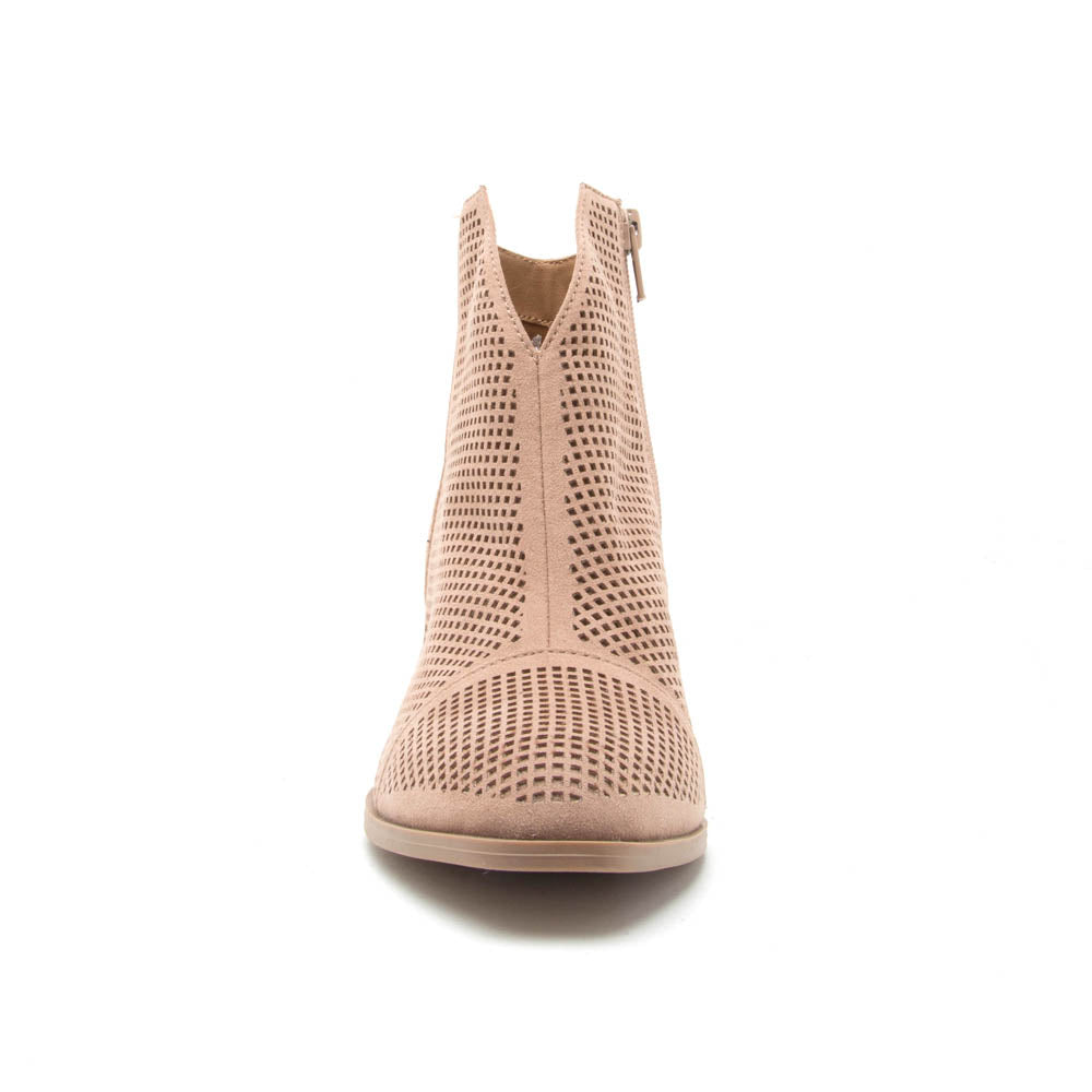 Prenton-45 Warm Taupe Perforated Bootie