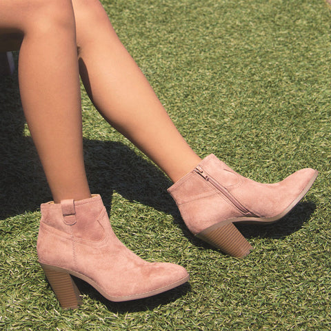Prism-01 Dark Blush Stretched Suede Bootie