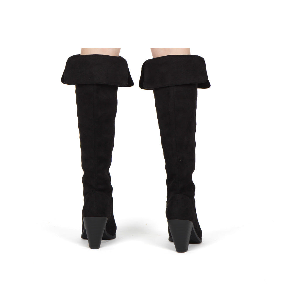 Prism-25 Black Fold Over Knee High Boots