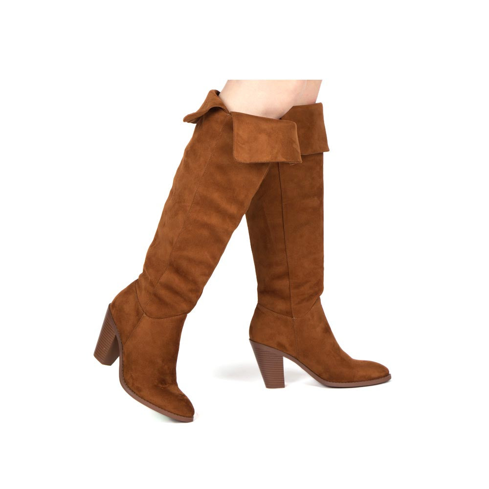 Prism-25 Chestnut Fold Over Knee High Boots