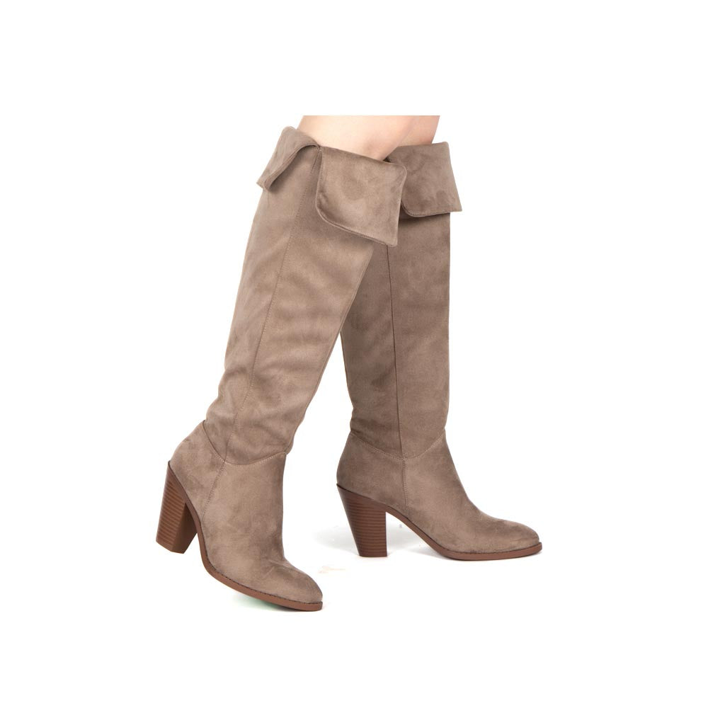 Prism-25 Taupe Fold Over Knee High Boots