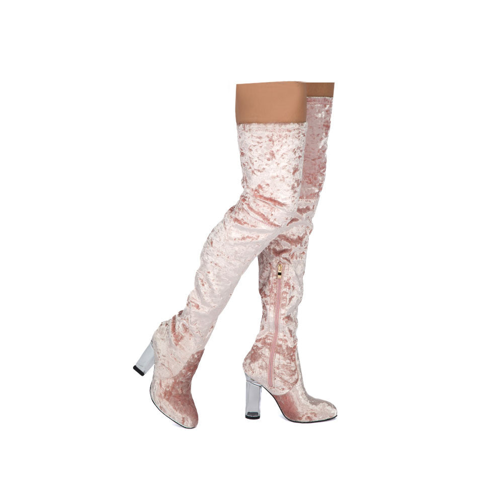 PROSA-01 Pink Perspex Heeled Over The Knee Velvet Boots