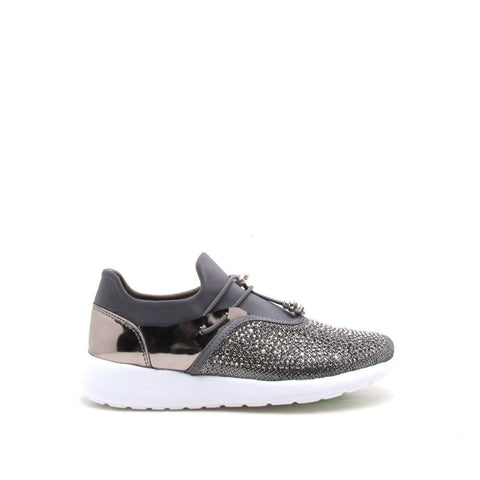 Pure-01 Pewter Mesh Embellished Sneaker