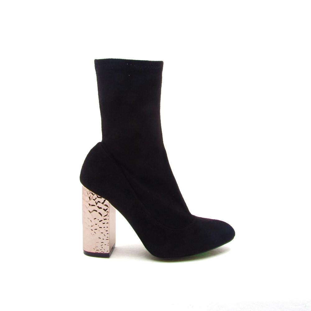 Radical-05 Black Suede Sock Metallic Heel Bootie