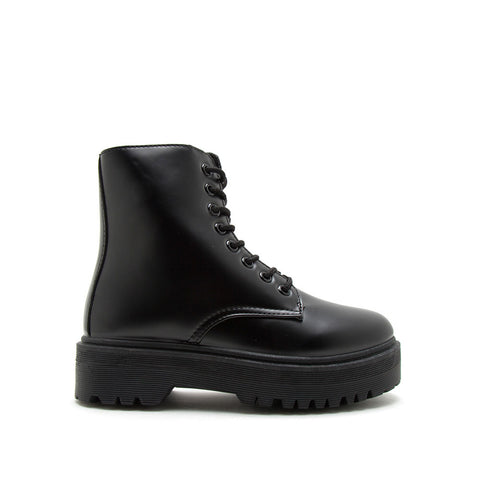 Raffi-01AX Black Lace Up Boots