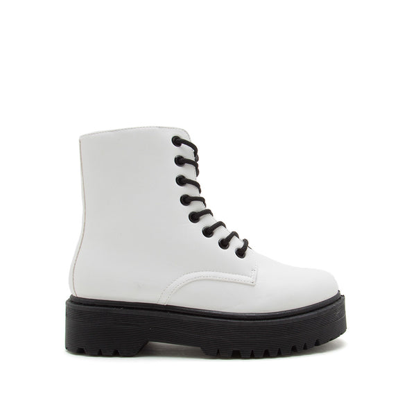 Raffi-01AX White Lace Up Boots