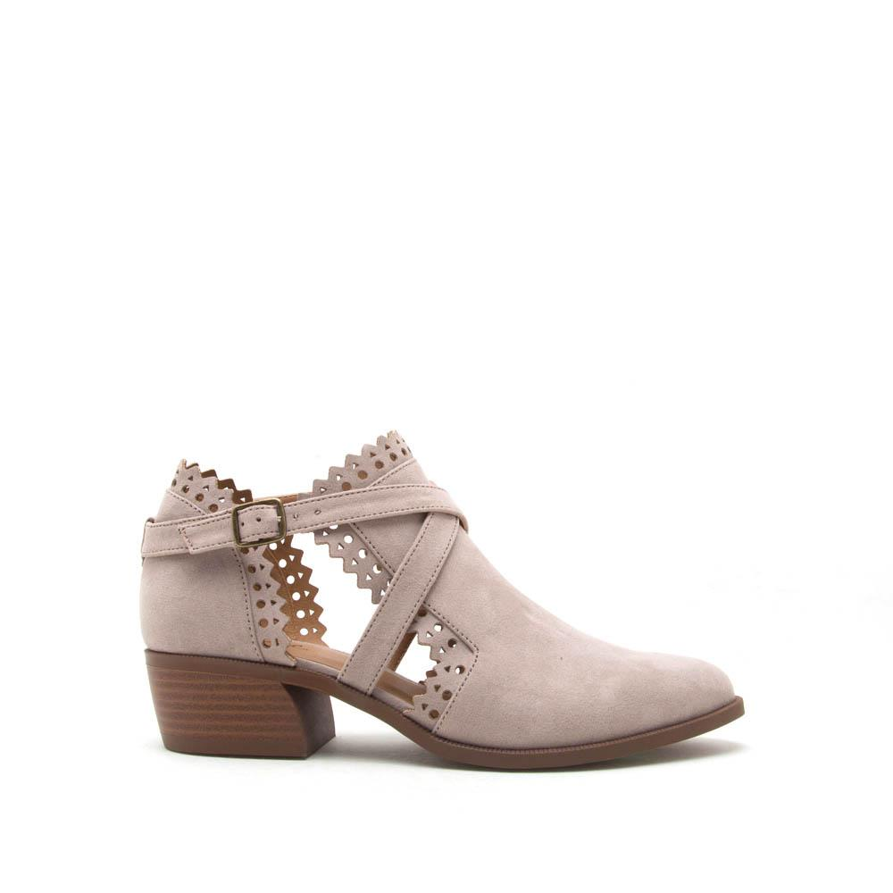 Rager-02 Taupe X Band Perforated Bootie