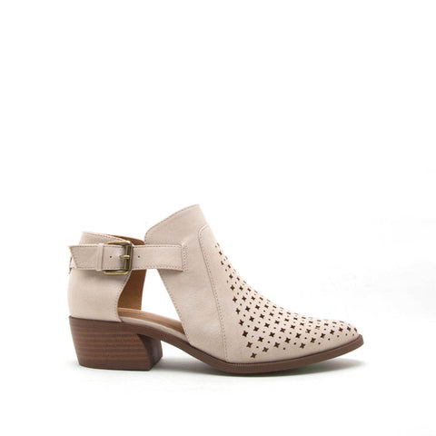 Rager-03 Beige Perforated Bootie