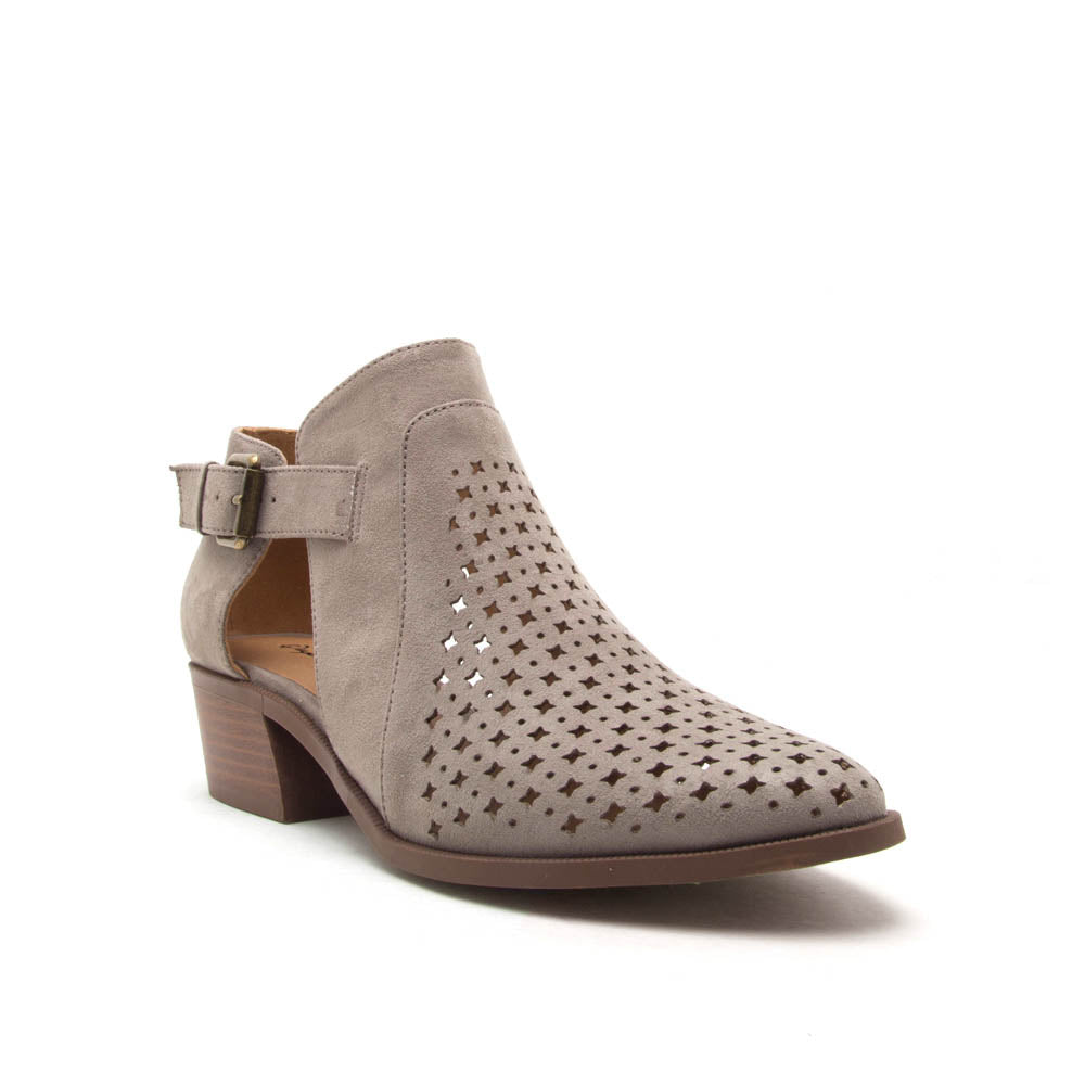 Rager-03 Grey Perforated Bootie