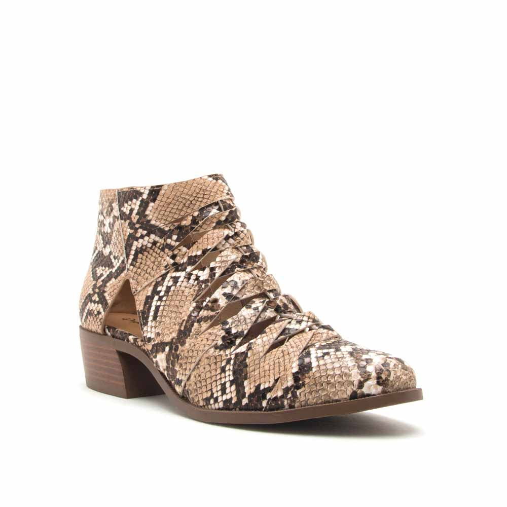 Rager-56 Beige Brown Snake Braided Vamp Bootie