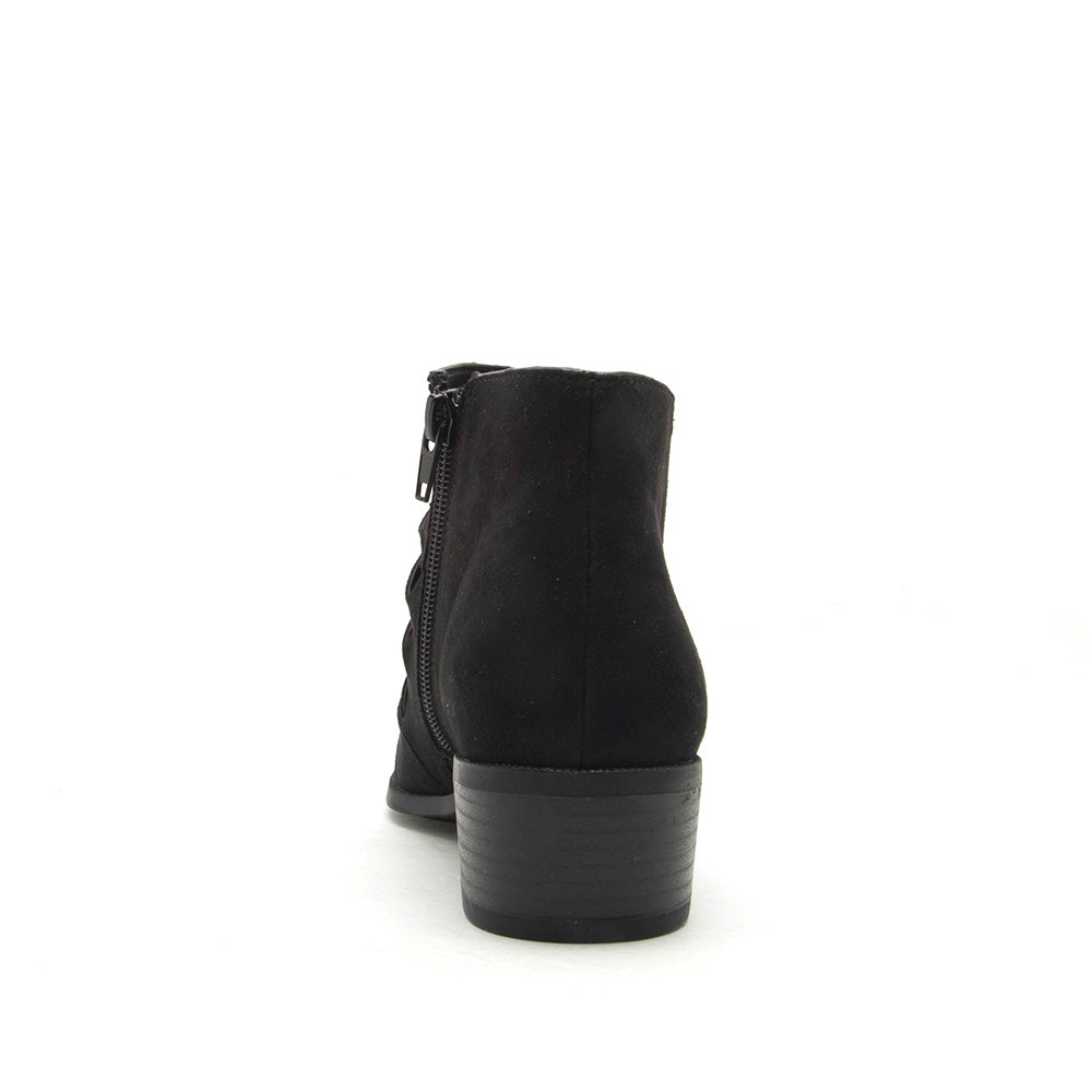Rager-56 Black Braided Vamp Bootie