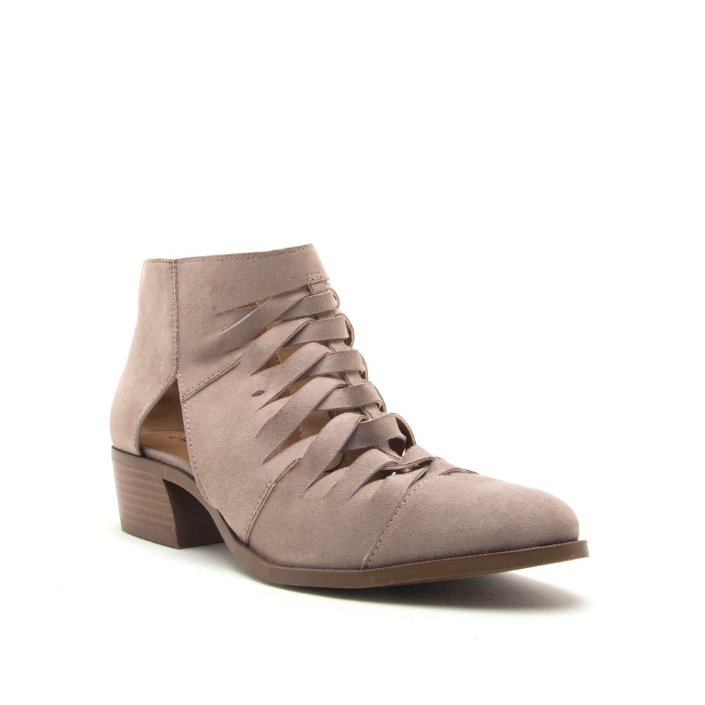 Rager-56 Taupe Braided Vamp Bootie
