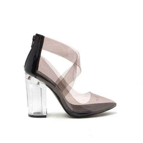 RANKER-03 Grey Clear Strap Perspex Pump
