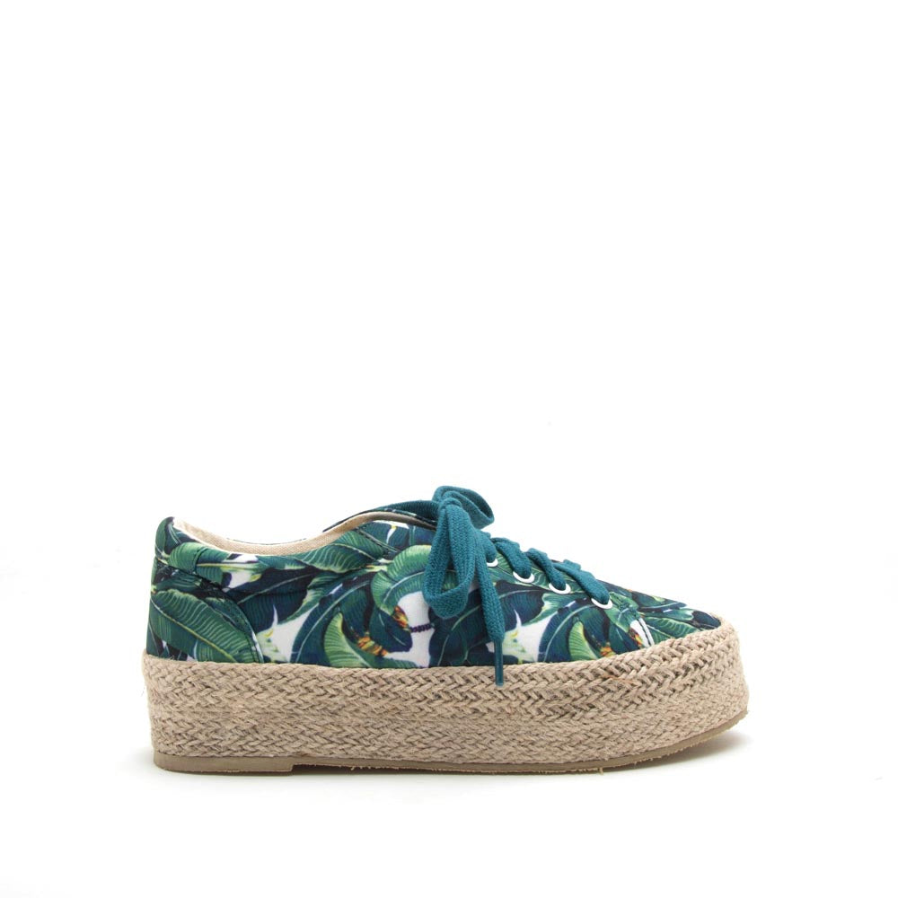 Raymond-01 Green Multi Lace Up Jute Sneaker