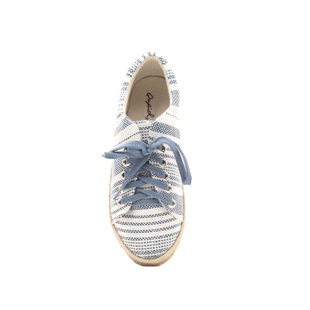 Raymond-01 Navy White Lace Up Jute Sneaker