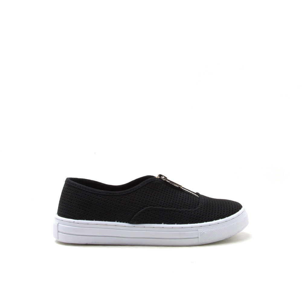 REBA-113C Black Perforated Zip Sneaker