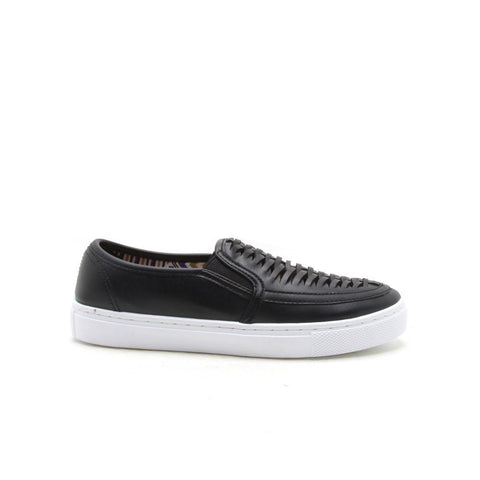 REBA-127D Black Woven Slip On Sneaker