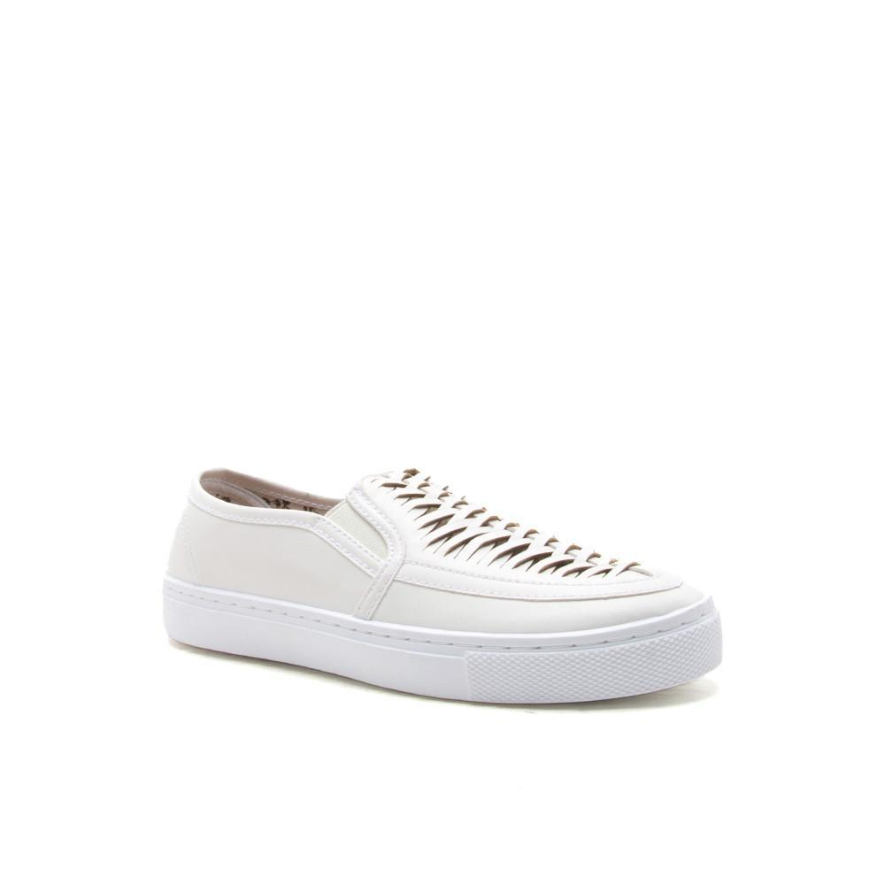 REBA-127D White Woven Slip On Sneaker