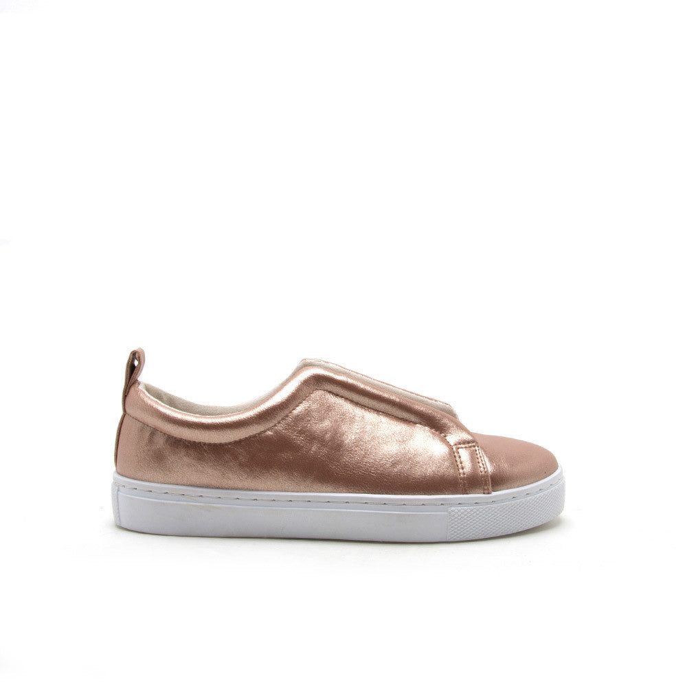 Reba-138D Rose Gold Banded Slip On Sneaker