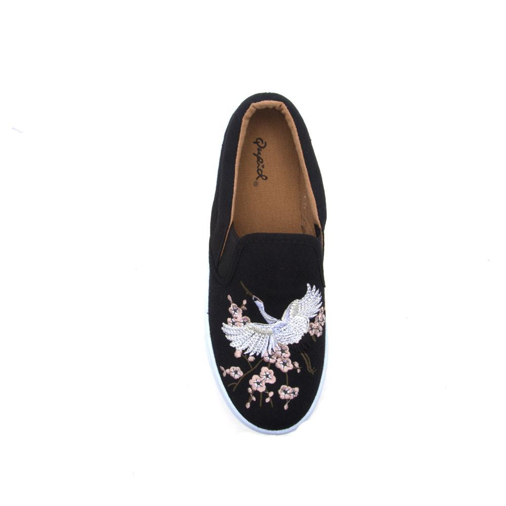 Reba-158B Black Embroidered Slip On