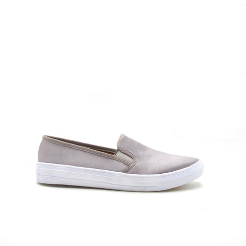Reba-159C Light Grey Satin Slip On