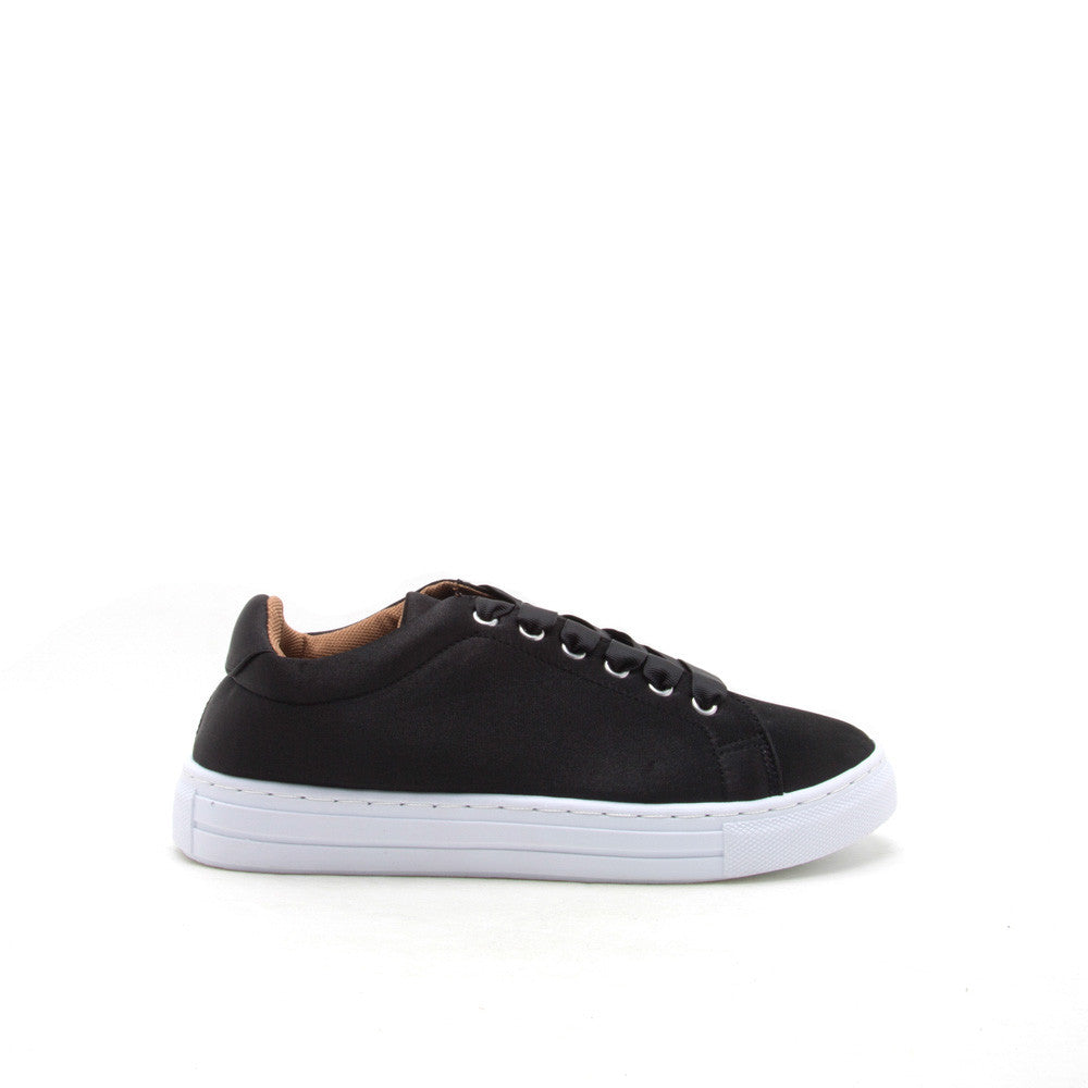 Reba-161C Black Satin Lace Up Sneaker
