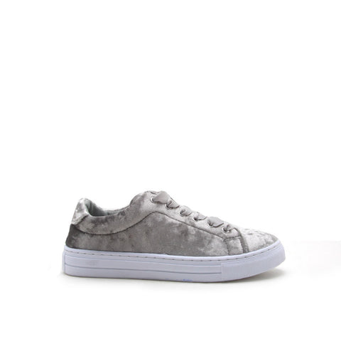 Reba-161C Light Grey Velvet Lace Up Sneaker