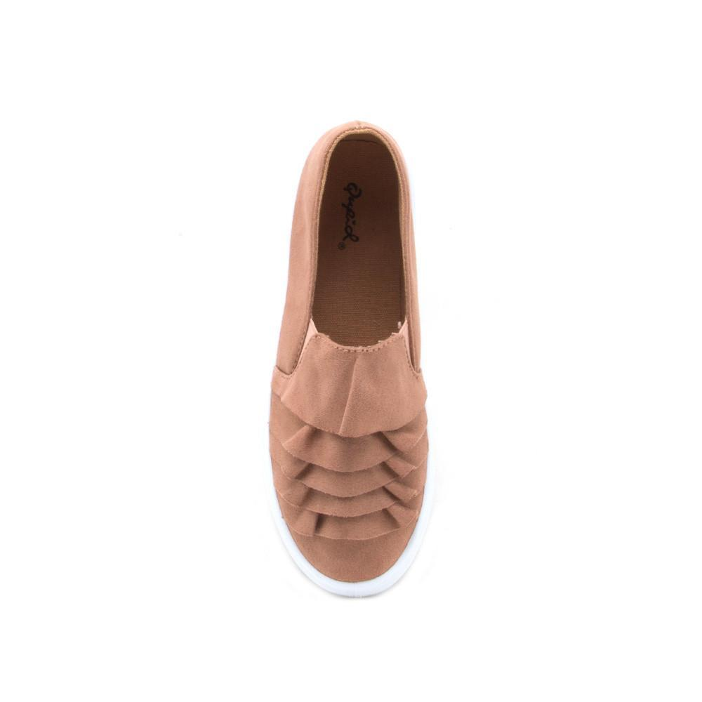 Reba-162B Dark Blush Ruffled Slip On