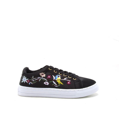 Reba-165C Black Embroidered Satin Sneaker