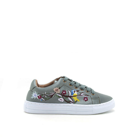 Reba-165C Khaki Embroidered Satin Sneaker