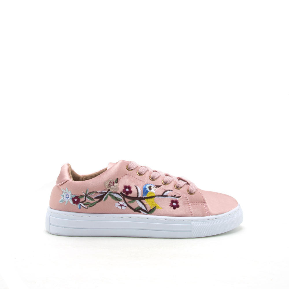 Reba-165C Mauve Embroidered Satin Sneaker