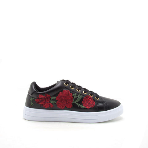 Reba-170B Black Embroidered Sneaker