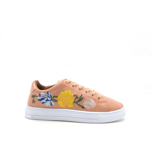 Reba-170B Blush Embroidered Sneaker