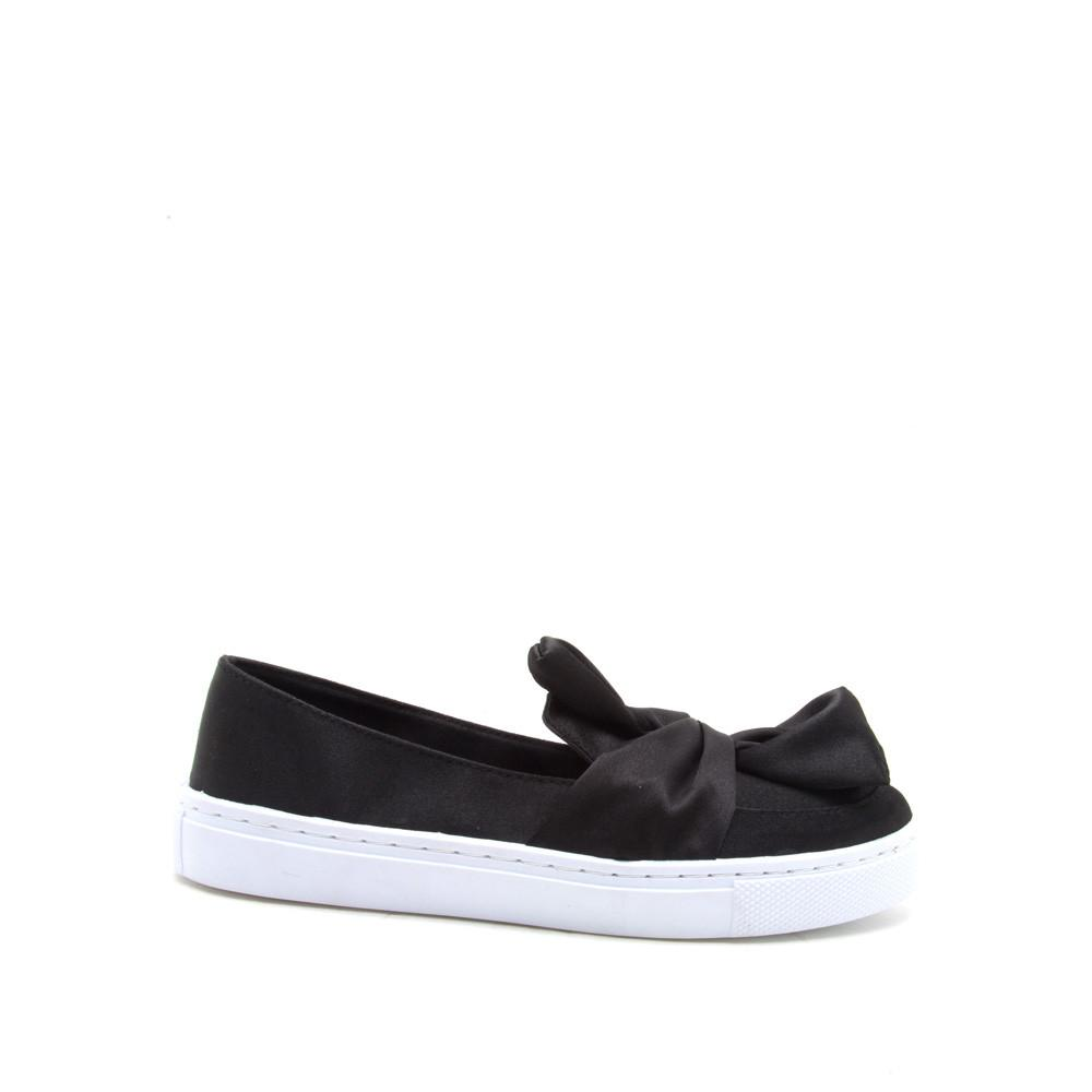 Reba-178C Black Satin Knotted Slip On Sneaker