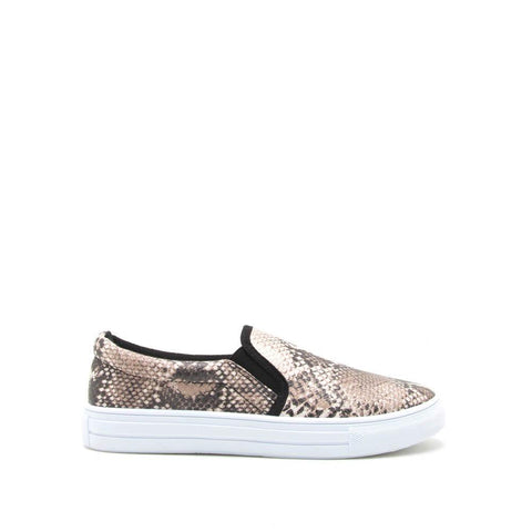 Reba-58B Beige Brown Snake Step In Sneaker