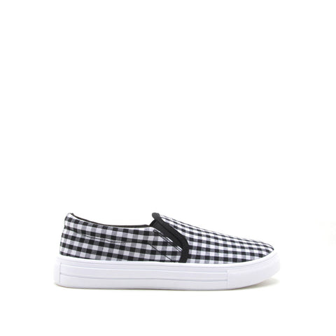 Reba-58B Black White Checkered Step In Sneaker