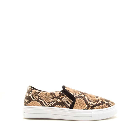 Reba-58B Tan Brown Snake Step In Sneaker