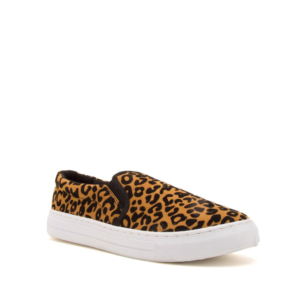 Reba-58BX Camel Black Leopard Step In Sneakers