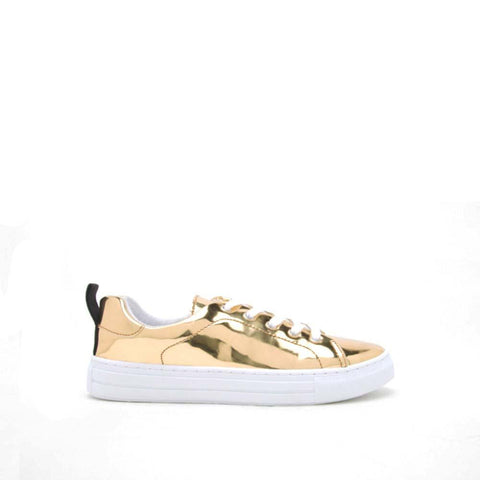 REBA-61B Gold Shiny Met Love and Peace Sneaker