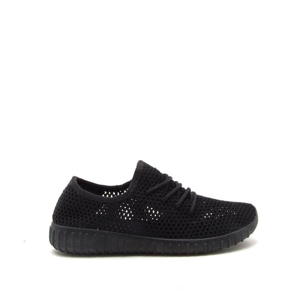 Reckless-02X Black Perforated Knitted Sneaker