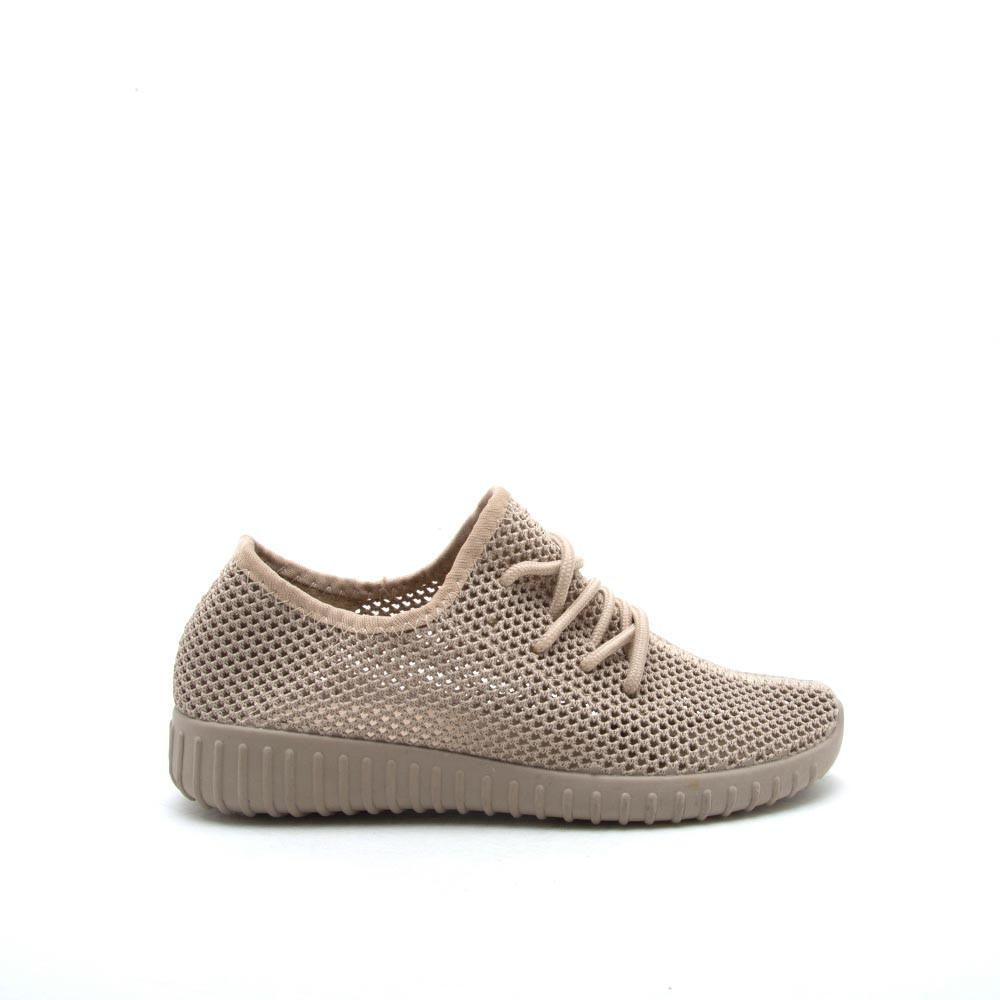 Reckless-02X Taupe Perforated Knitted Sneaker