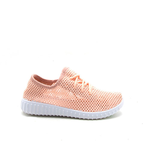Reckless-02X Pink Perforated Knitted Sneaker