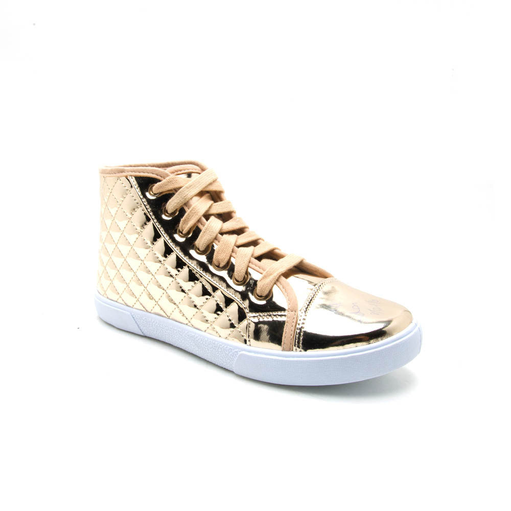 REEVE-01 Gold Quilted High Top Sneaker