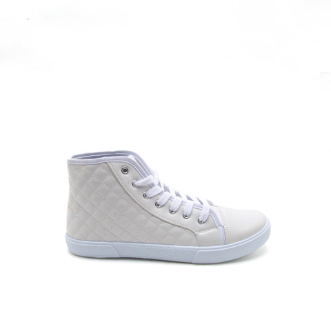 REEVE-01 White Quilted High Top Sneaker