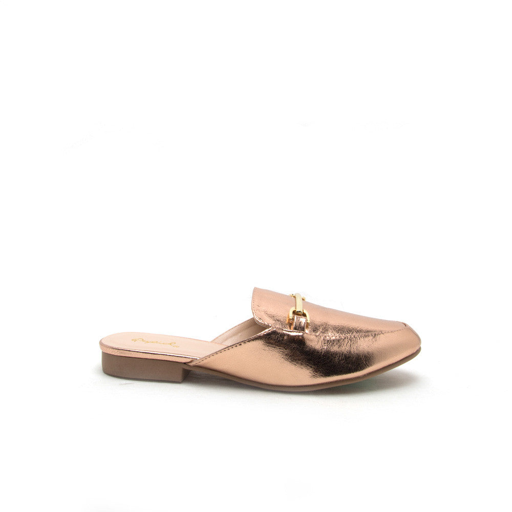 Regent-02 Rose Gold Metallic Mule Loafer