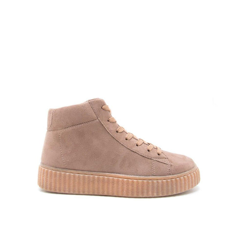 REMATCH-02 Taupe Suede High Top Sneakers