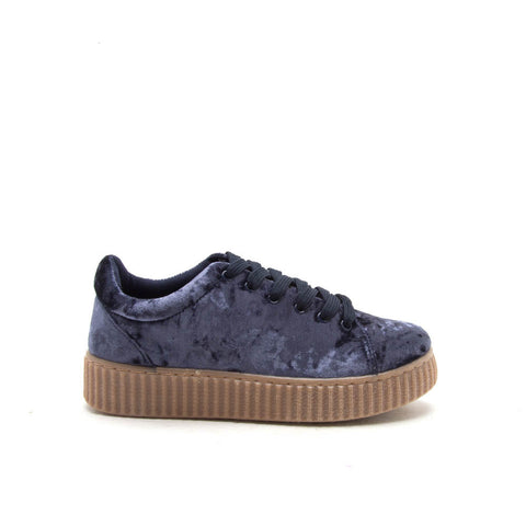 REMATCH-03A Dark Blue Velvet Sneaker Creeper