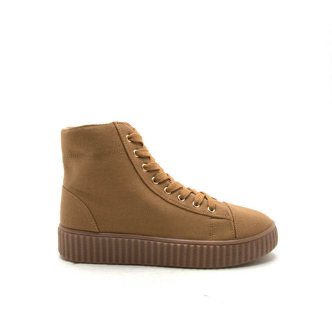 REMATCH-10A Camel Canvas High Top Sneaker
