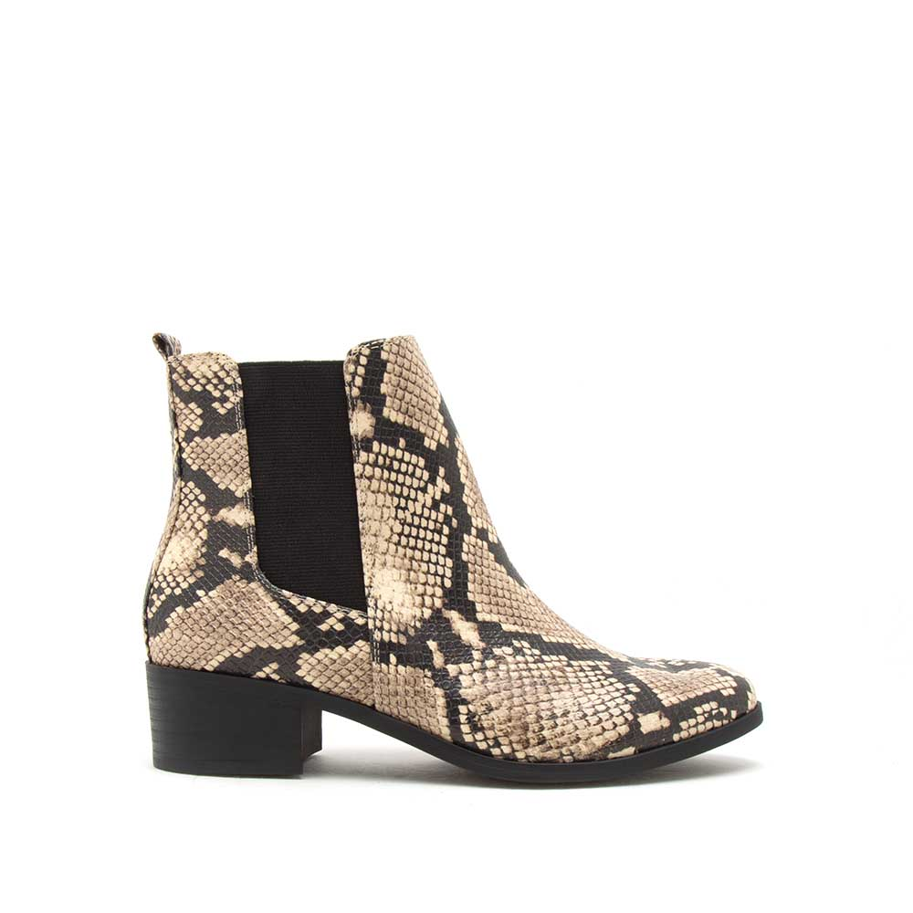 Repeat-01 Beige Black Snake Booties