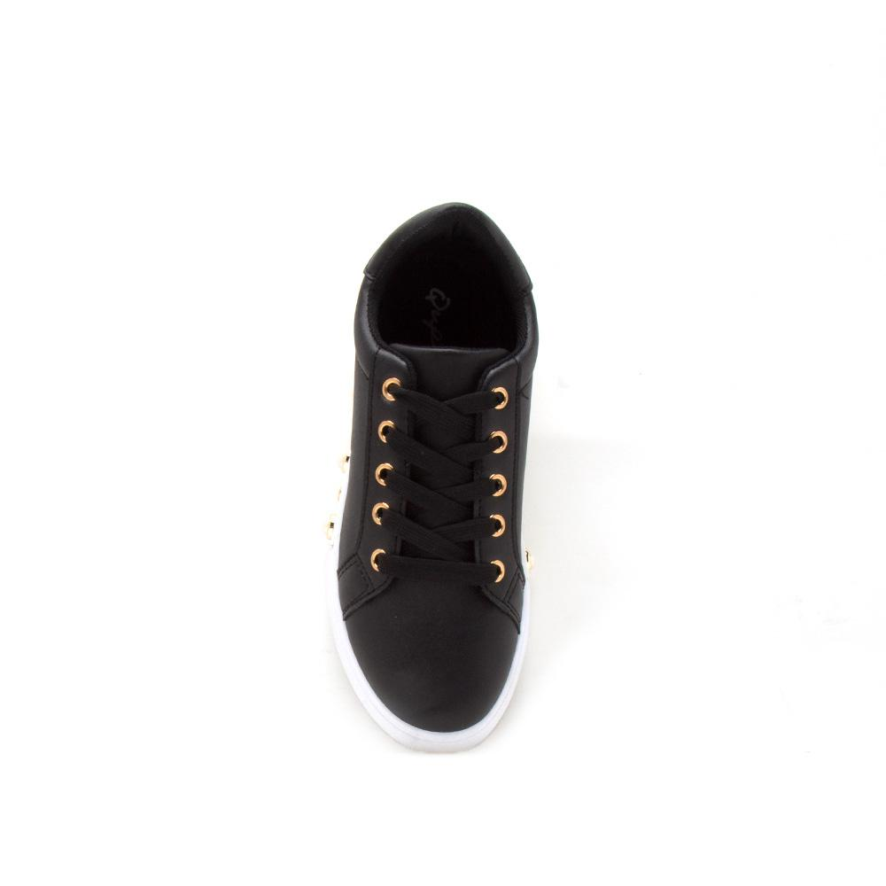 Rexford-02A Black Embellished Lace Up Sneaker